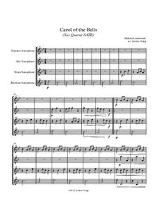 Carol of the Bells: For sax quartet SATB by Mykola Leontovych