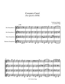 Coventry Carol: For sax quartet AATB by folklore
