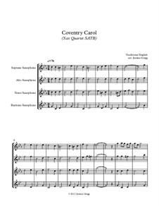 Coventry Carol: For sax quartet SATB by folklore