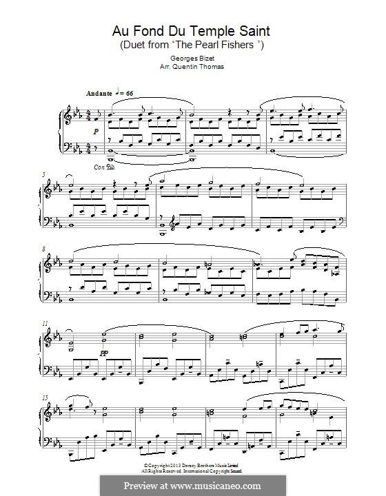 Au fond du temple saint: For piano by Georges Bizet