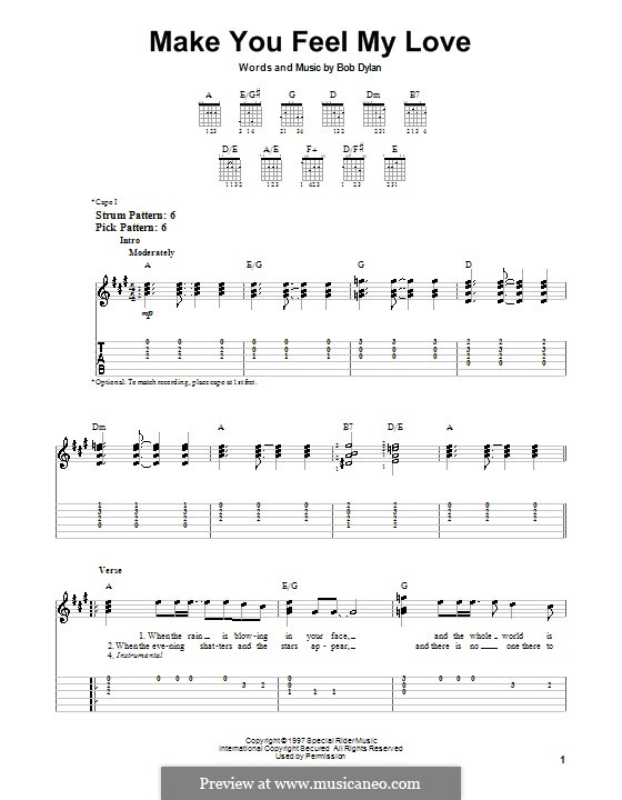 Make You Feel My Love: For guitar with tab by Bob Dylan
