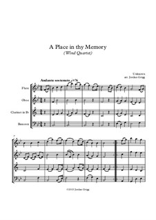 A Place in thy Memory: For wind quartet by Unknown (works before 1850)