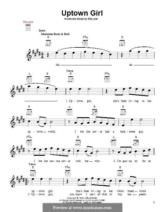 Uptown Girl: For ukulele by Billy Joel
