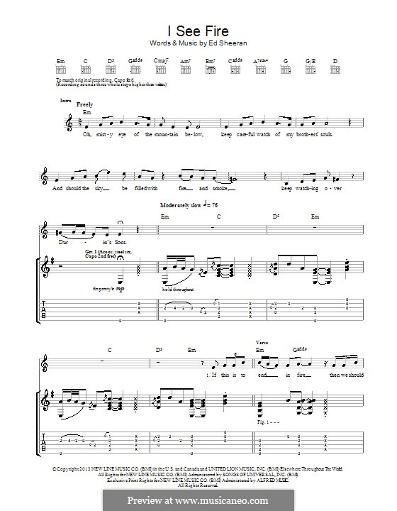 I See Fire (from The Hobbit) by E. Sheeran - sheet music on MusicaNeo