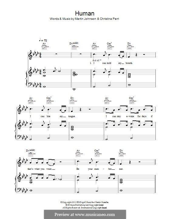 Human Christina Perri Piano Sheet Music Pdf Image Information