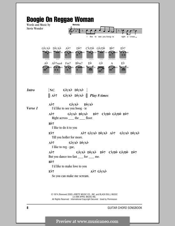 Piano reggae piano chords : Boogie on Reggae Woman by S. Wonder - sheet music on MusicaNeo