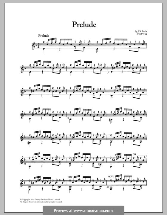 Prelude in C Minor, BWV 999: For guitar with tab by Johann Sebastian Bach