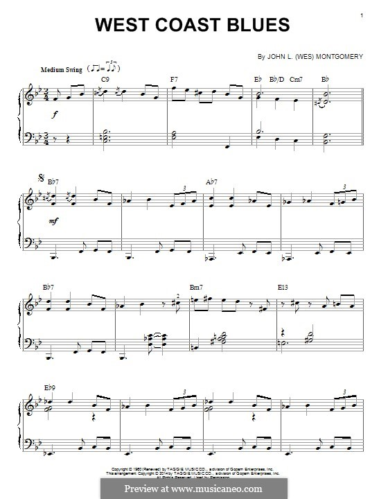 West Coast Blues by Wes Montgomery - sheet music on MusicaNeo