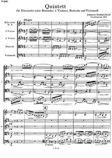 Quintet for Clarinet and Strings in B Minor, Op.115: Full score by Johannes Brahms