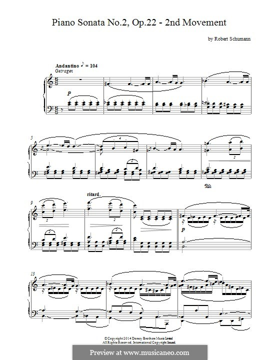 Sonata No.2 in G Minor, Op.22: Movement II by Robert Schumann