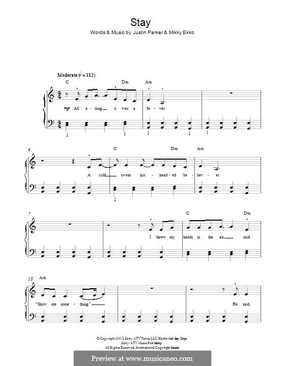 Piano stay rihanna piano chords : Stay (Rihanna) by J. Parker, E. Loelv, M. Ekko - sheet music on ...