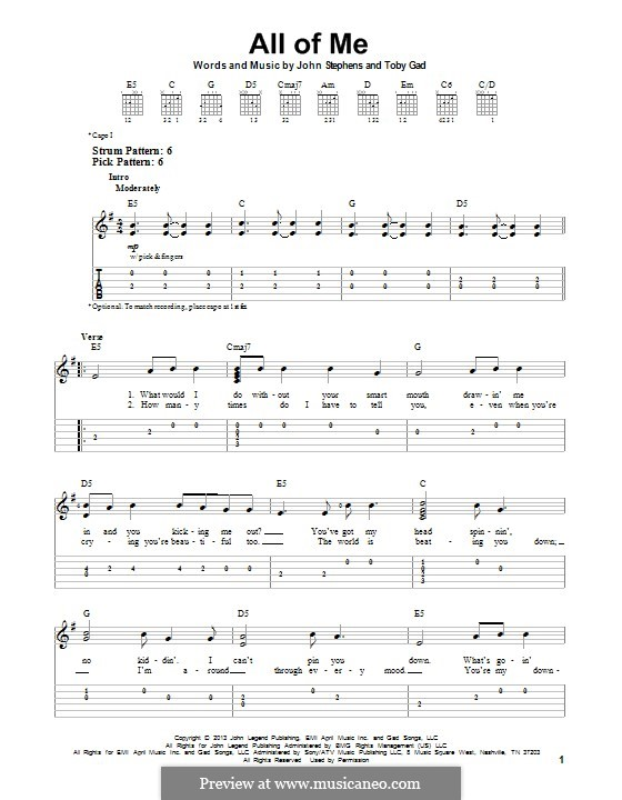Guitar guitar tabs all of me : All of Me by J. Stephens, T. Gad - sheet music on MusicaNeo