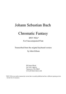 Chromatic Fantasia in D Minor, BWV 903a: Version for solo (unaccompanied) flute by Johann Sebastian Bach