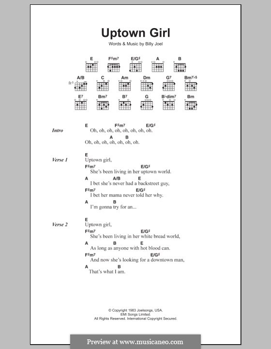 Uptown Girl: Lyrics and chords by Billy Joel