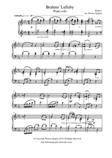 No.4 Cradle Song: For piano solo by Johannes Brahms