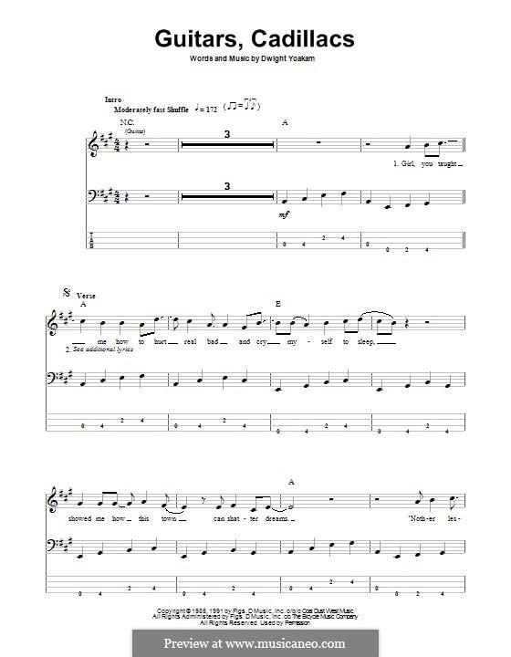 Guitars Cadillacs Bass Tab Guitars Cadillacs By Dwight Yoakam Bass Tab Guitar Guitars
