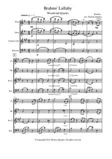 No.4 Cradle Song: For woodwind quartet by Johannes Brahms