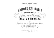 Harold en Italie, H.68 Op.16: Arrangement for piano four hands – parts by Hector Berlioz