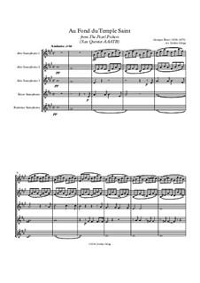 Au fond du temple saint: For sax quintet AAATB by Georges Bizet