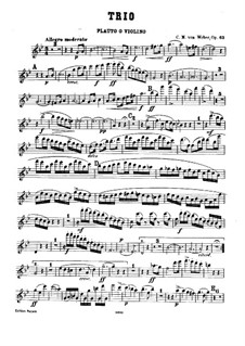 Trio for Flute, Cello and Piano, J.259 Op.63: Flute (or violin) part by Carl Maria von Weber