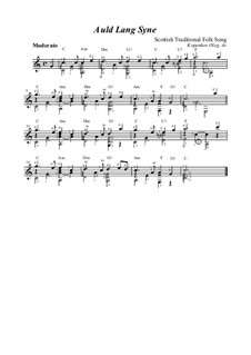 Auld Lang Syne: For guitar by folklore
