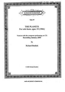 The Planets fro solo horn, Op.19: The Planets fro solo horn by Richard Burdick