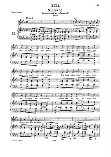 No.22 Niemand (Nobody): For medium voice and piano by Robert Schumann
