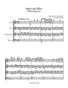 Three Songs, Op.7: No.1 Après une rêve, for wind quartet by Gabriel Fauré