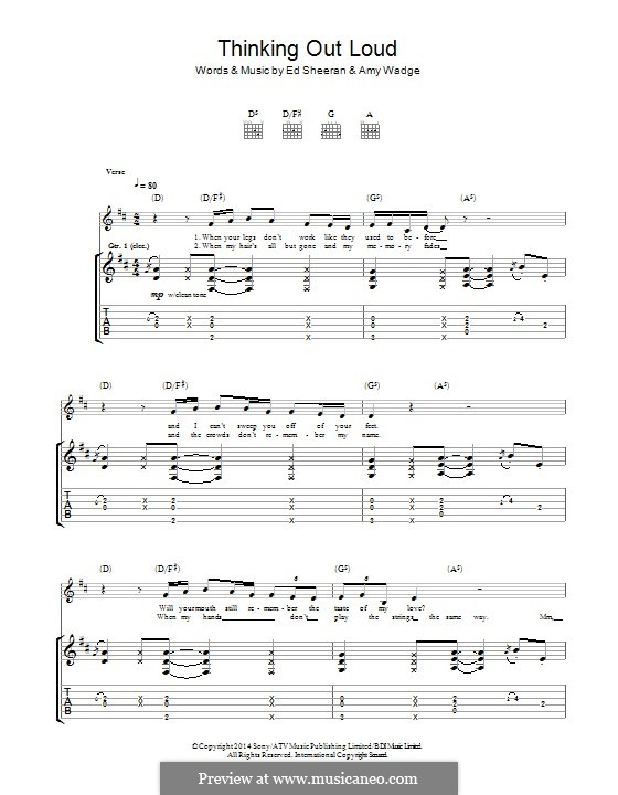Thinking Out Loud by E. Sheeran, A. Wadge - sheet music on MusicaNeo