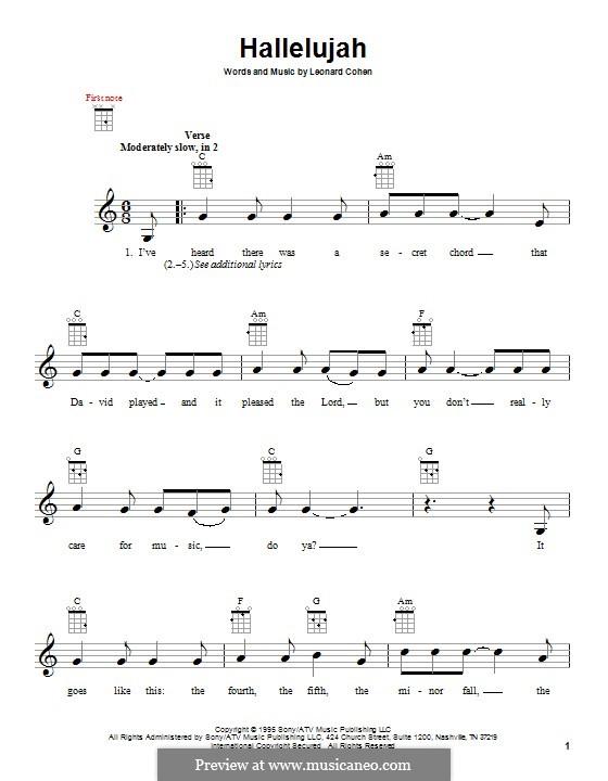 Hallelujah: For ukulele by Leonard Cohen
