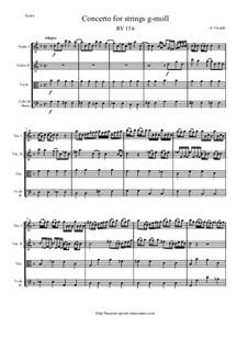 Concerto for Strings in G Minor, RV 156: Score and parts by Antonio Vivaldi