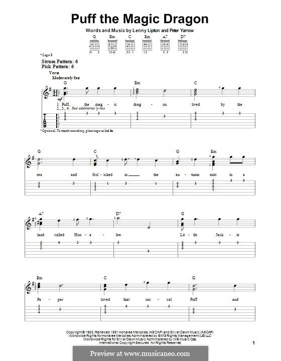 Ukulele u00bb Ukulele Tabs Puff The Magic Dragon - Music Sheets, Tablature, Chords and Lyrics