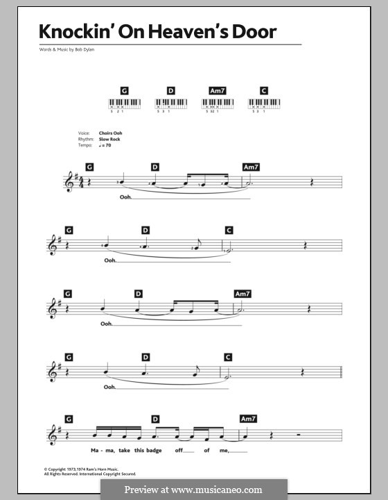 Knockin' on Heaven's Door: For keyboard by Bob Dylan