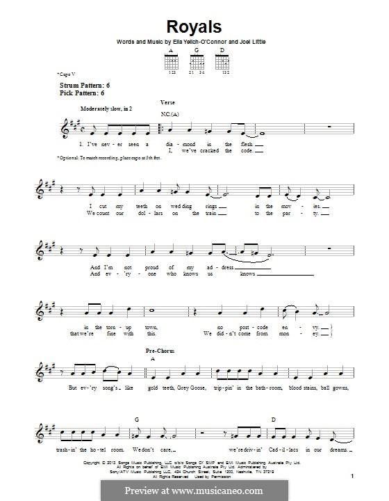 Royals (Lorde) by E. Yelich-O'Connor, J. Little - sheet music on ...