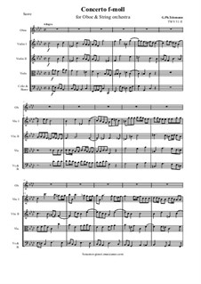 Concerto for Oboe, Strings and Basso Continuo in F Minor, TWV 51:f1: Score and all parts by Georg Philipp Telemann