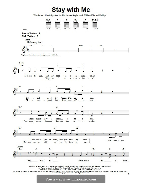 Guitar u00bb Guitar Chords Of Stay With Me - Music Sheets, Tablature, Chords and Lyrics