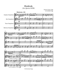 Hatikvah (Sax Quartet SATB): Hatikvah (Sax Quartet SATB) by Samuel Cohen