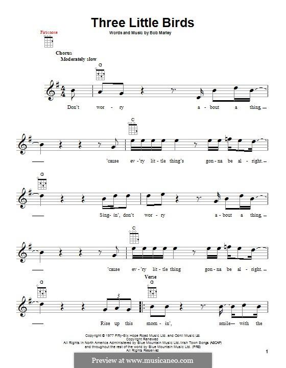Three Little Birds by B. Marley - sheet music on MusicaNeo