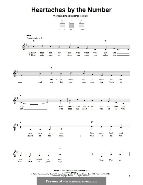 Heartaches By the Number: For guitar with tab by Harlan Howard