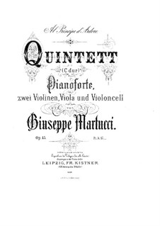 Piano Quintet, Op.45: Full score by Giuseppe Martucci