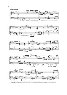 Suite No.1 in A Major, BWV 806: Allemanda. Editor Pavel Popov (2008) by Johann Sebastian Bach