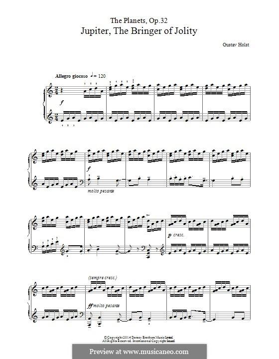 jupiter piano sheet music pdf