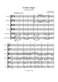 O Holy Night: For string orchestra by Adolphe Adam