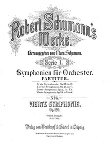 Symphony No.4 in D Minor, Op.120: Full score by Robert Schumann