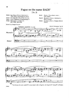 Six Fugues on Name 'Bach', Op.60: Fugue No.3 by Robert Schumann
