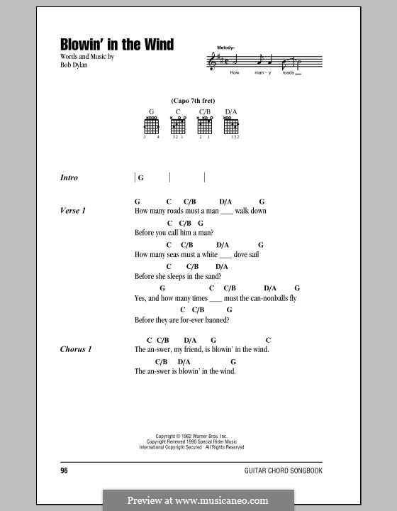 Blowin' in the Wind: Lyrics and chords by Bob Dylan