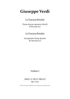Libiamo ne'lieti calici (Brindisi): For string quartet – set of parts by Giuseppe Verdi