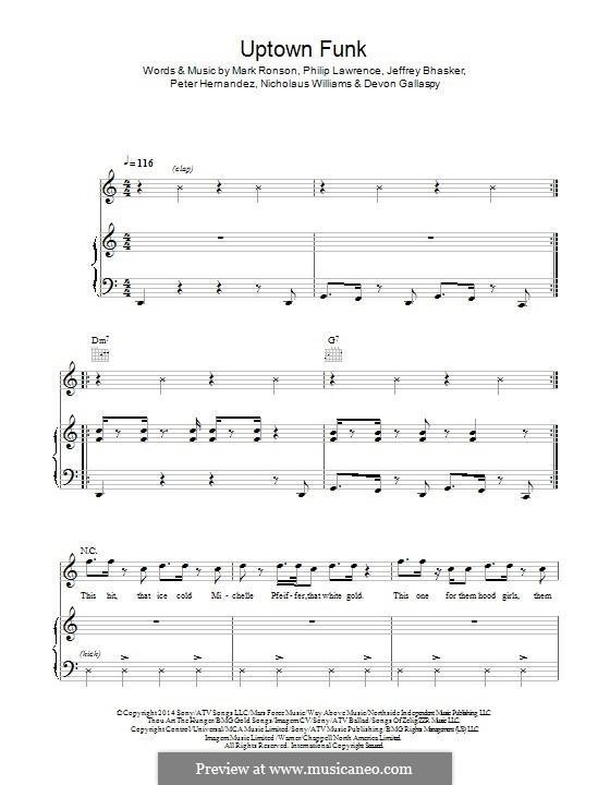 Uptown Funk (Mark Ronson ft. Bruno Mars) by J. Bhasker, Bruno Mars, P. Lawrence, D. Gallaspy, N ...