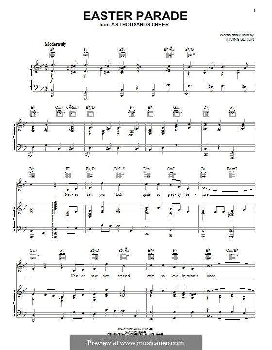 Easter Parade: For voice and piano (or guitar) by Irving Berlin