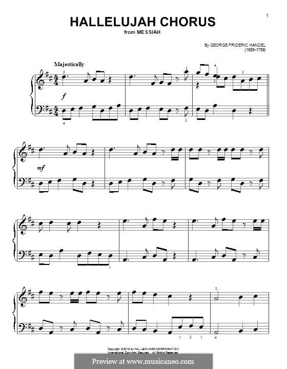 No.44 Hallelujah: For piano by Georg Friedrich Händel